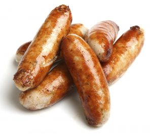 Stack of cooked sausages.